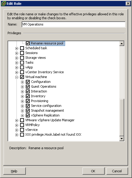 Cloud permissions for VMware vSphere (Roles, Privileges and