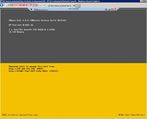 ESXi 6 on a HP Blade Server with iLO