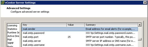 vCenter SMTP keys