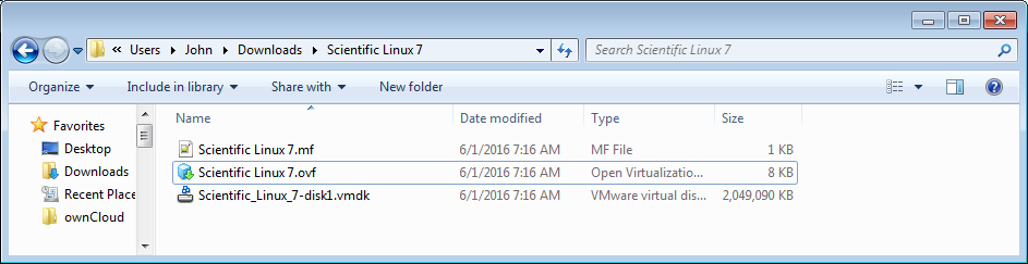 AN OVF packaged (folder of files) Virtual Appliance as viewed in Windows Explorer
