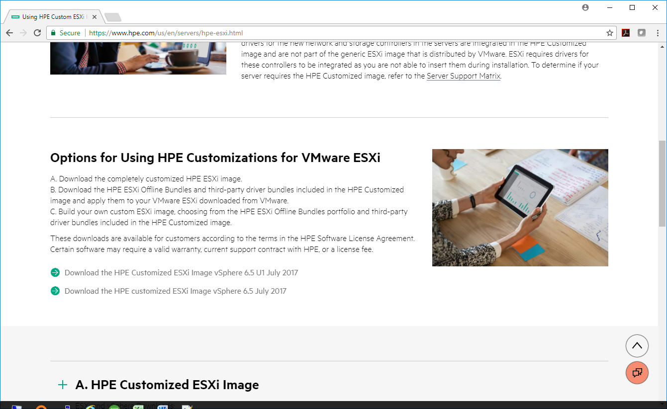 HPE Custom Image for ESXi 6 5U1 has been withdrawn due to